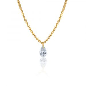 18ct yellow gold pear diamond pendant