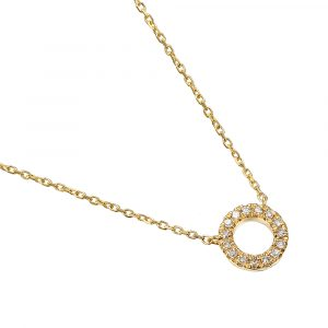 9ct yellow gold circle diamond pendant