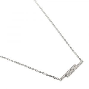 9ct white gold double bar diamond pendant