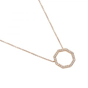 9ct rose gold octagon diamond pendant
