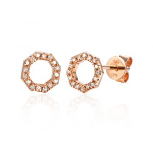 Rose gold octagon shape diamond earrings