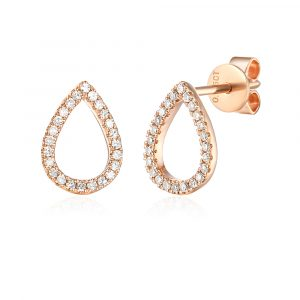 Rose gold pear shape diamond earrings