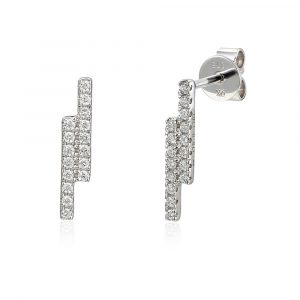 9ct white gold double bar diamond earrings