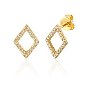 9ct yellow gold diamond shape earrings