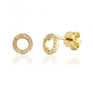 Yellow gold circle diamond earrings