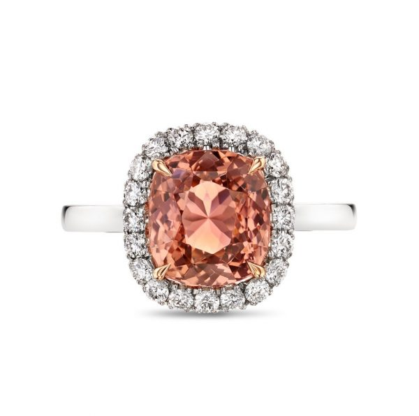 peach tourmaline and diamond cluster 18ct white gold ladies dress ring