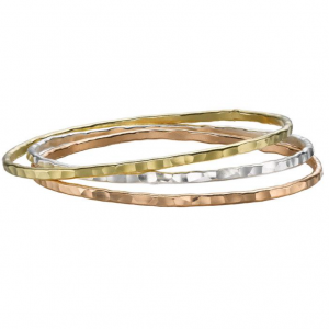 Sterling Silver And Gold Vermeil - 3mm Mixed Nomad Bangle Set