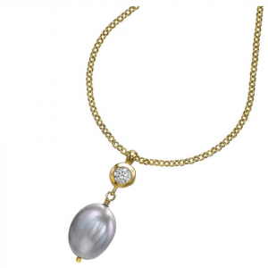 Yellow Gold Vermeil - Dove Grey Baroque Pearl & White Topaz Pendant