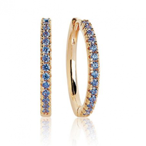 18K GOLD PLATED EARRINGS WITH BLUE ZIRCONIA