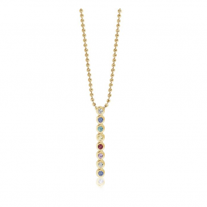18K GOLD PLATED PENDANT WITH MULTICOLOURED ZIRCONIA